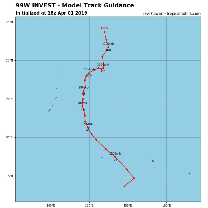 INVEST 99W:  450km to Chuuk may develop into a tropical cyclone in 36/48hours