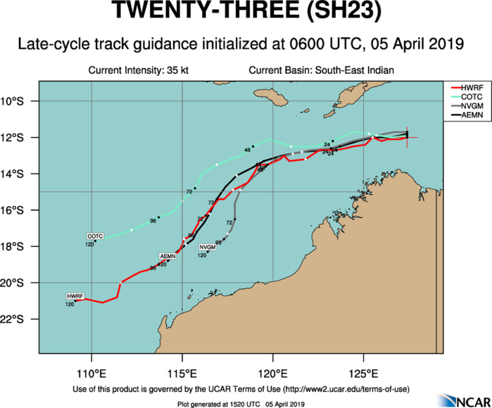 15UTC: TC 23S is still fighting wind shear and has remained poorly organized so far