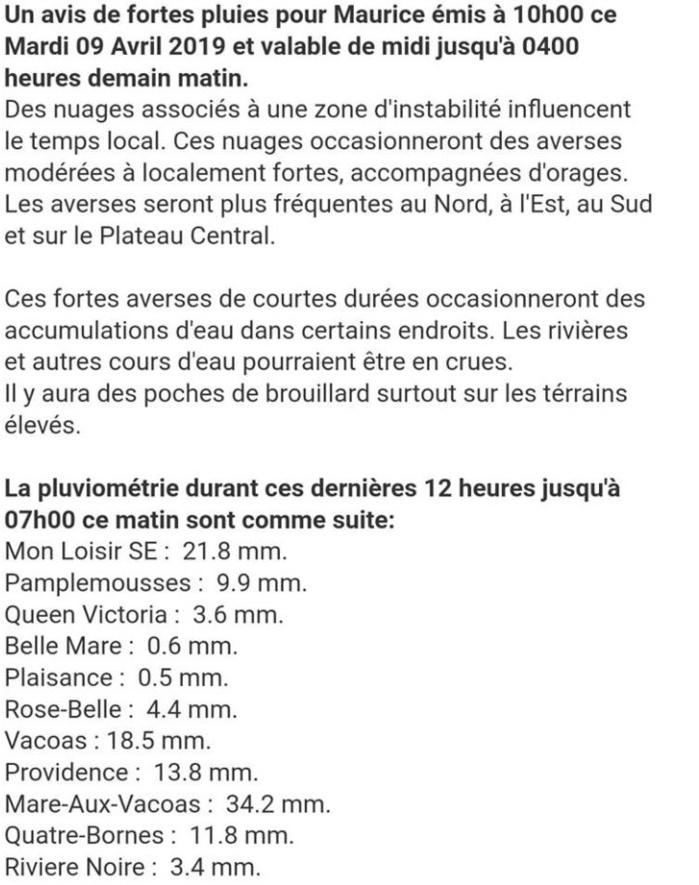 10h30: Avis de Fortes Pluies émis à Maurice par MMS/Vacoas à 10heures ce matin valable jusqu'à 4heures Mercredi matin.