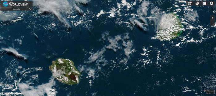 Maurice et la Réunion vues par le satellite Terra ce matin à 10h15.
