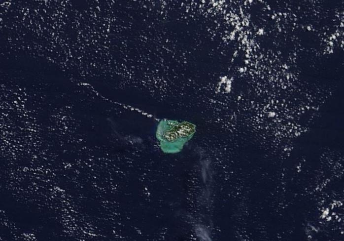 Rodrigues vue par le satellite Terra à 10h15 ce matin. Crédit image NASA