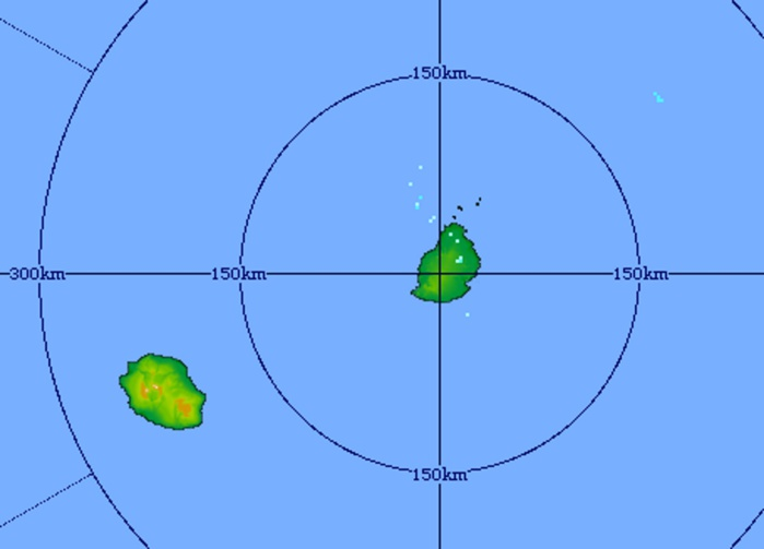 Image du radar de Trou Aux Cerfs à 08h31 ce matin. Temps calme sur les Iles Soeurs. Crédit image: MMS