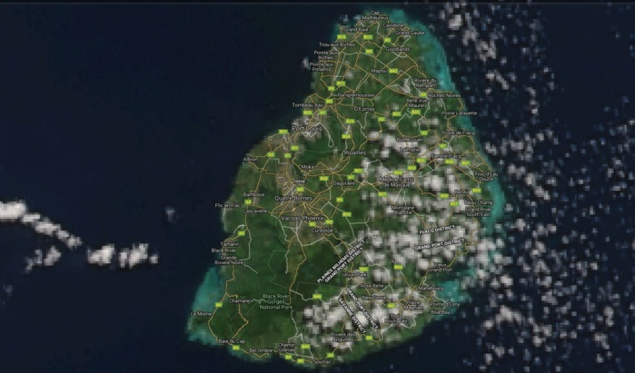 Maurice vue par le satellite NPP à 14h25 ce jour. Grand beau temps sur l'île avec quelques nuages sur le quart sud-est.