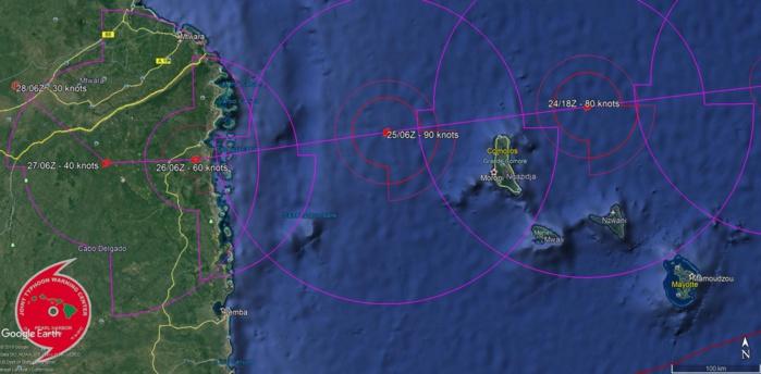 Prévision N2 du Joint Typhoon Warning Center: la dépression pourrait rapidement s'intensifier ces prochaines 48heures passant très près au nord de Grande Comore dans la nuit de Mercredi à Jeudi au stade de cyclone tropical.