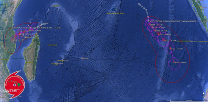Prévisions de trajectoire et d'intensité de la Navy US pour les deux systèmes cycloniques tropicaux actuellement sur le Sud de l'océan indien.