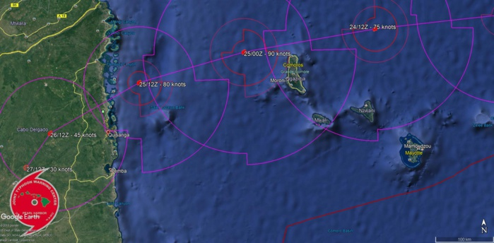 FORECAST CLOSEST POINT OF APPROACH TO GRANDE COMORE