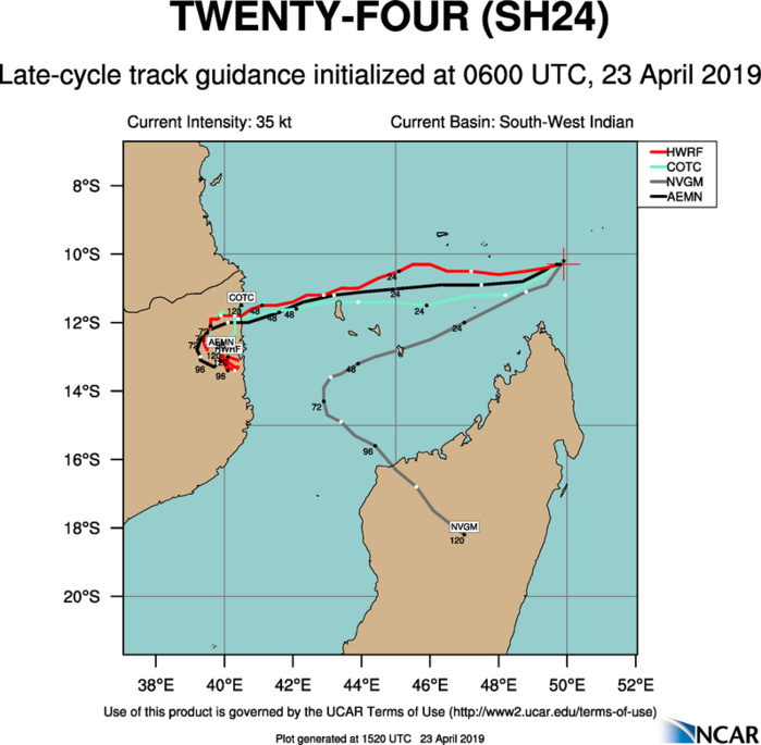 15UTC: TC KENNETH(24S) forecast to peak as a category 2 US in 48hours, potential direct threat to Grande Comore