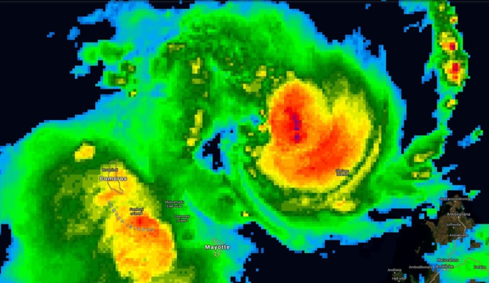 Image satellite de 7h(heure des Comores): l'archipel comorien est déjà affecté par les intempéries. La forte tempête tropicale KENNETH va se rapprocher tout au long de la journée et pourrait passer très près des côtes nord de Grande Comore la nuit prochaine.