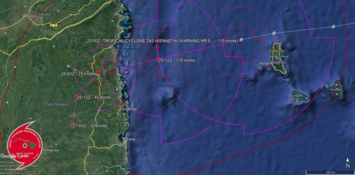 09h: le cyclone intense KENNETH est passé à 15/20km du nord de Grande Comore et se dirige vers le Mozambique(VIDEO)