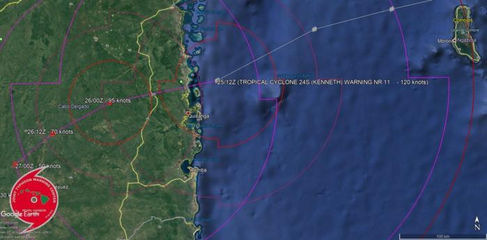 L'oeil du cyclone touche terre à une tentaine de kms au nord de Quisanga/Mozambique.
