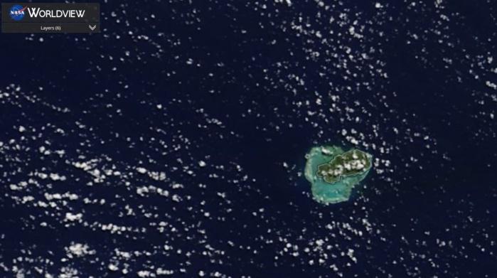 RODRIGUES et son lagon vus par le satellite Terra ce matin à 10heures.