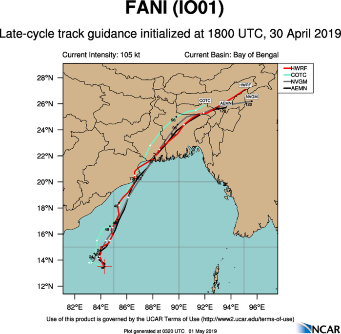 Cyclone FANI(01B) category 3 US, possible landfall near Puri/India shortly after 48hours(VIDEO)