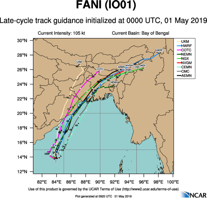 Cyclone FANI(01B) category 3 US, forecast to be close to the Puri/Ratanpur area in 48hours