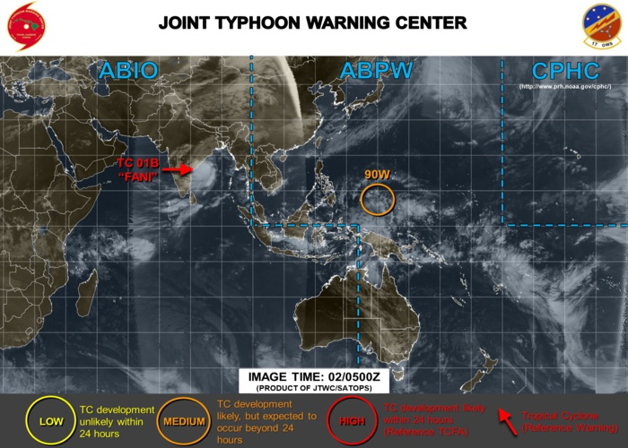 INVEST 90W: 460km to the southeast of Yap may develop next few days