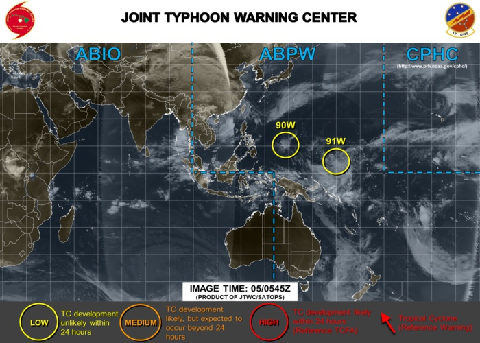 90W near Yap: little development expected. 91W southeast of Chuuk: development anticipated near next 36/48hours