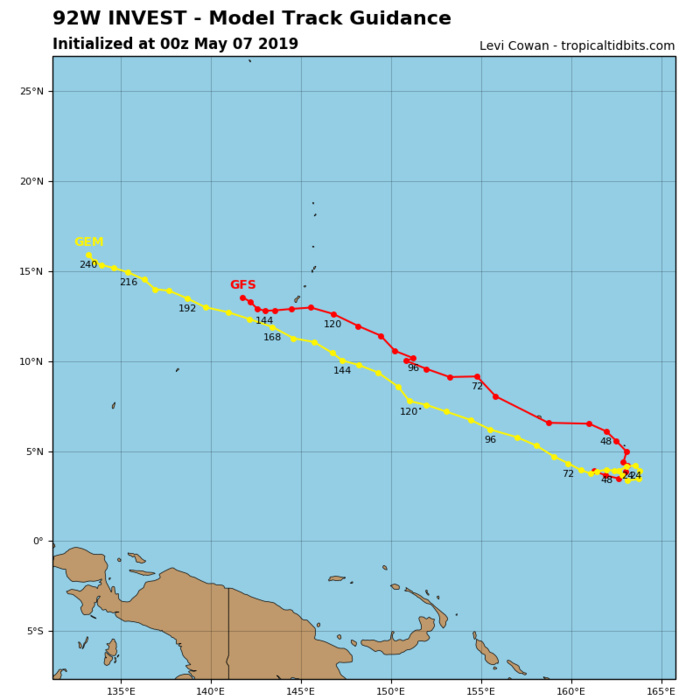 GUIDANCE(MODELS) FOR INVEST 92W: GRADUAL DEVELOPMENT EXPECTED WITHIN THE NEXT 48/72HOURS