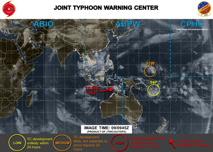 West Pacific: areas under watch north and south of the equator