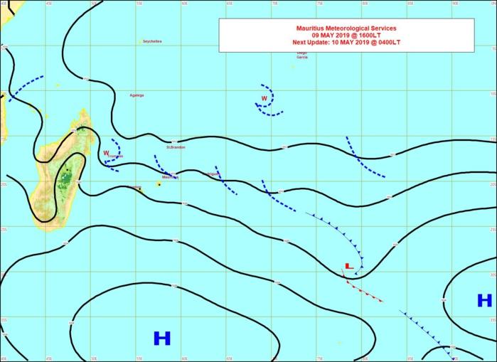 L'anticyclone est positionné au sud des Mascareignes. Carte MMS de 16h.