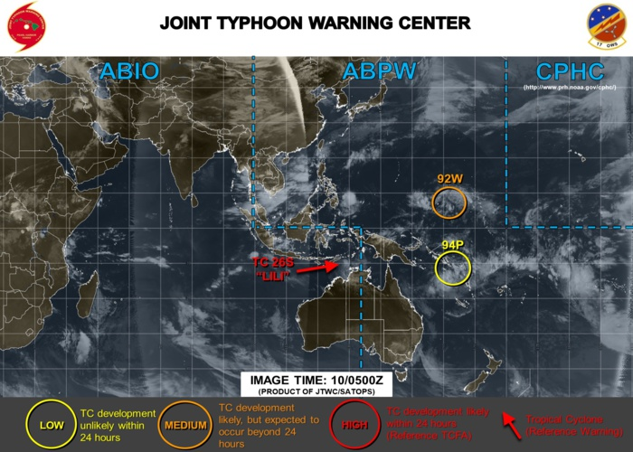 West Pacific:  94P could develop after 24hours while approaching east coast of Australia.  92W still under watch.