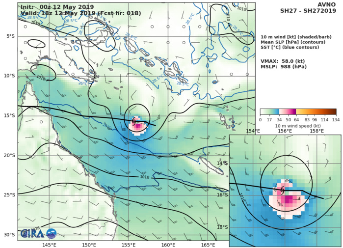 Coral Sea: Cyclone ANN(27P) forecast to peak within 12/24hours and make landfall over Cape York shortly before 48hours