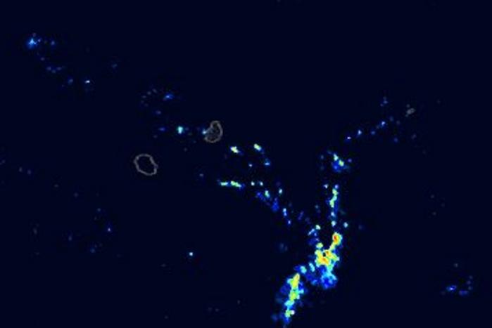 Modèle AROME de Météo France. Simulation pour la fin de la première partie de la nuit prochaine. Des averses pourraient intéresser les régions de la moitié ouest de MAURICE. Crédit image: Meteociel