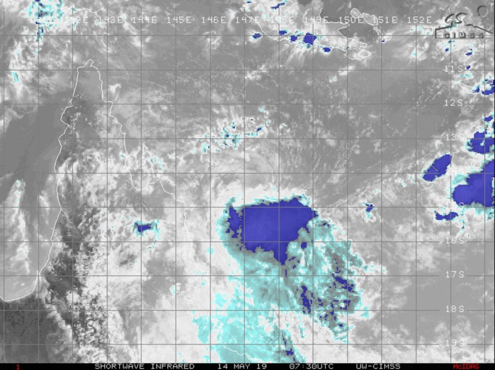 0730UTC. EXPOSED CENTER WITH FLARING CONVECTION TO THE SOUTH