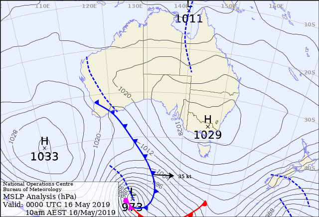 Frontal system, extratropical cyclone, 973hpa. BOM