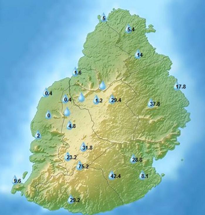 A 4heures ce matin: cumuls de pluie en 24heures dans les stations de MMS.