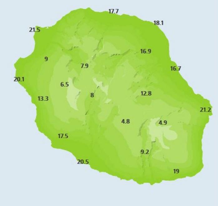 Températures relevées par les stations de Météo France à 6heures ce matin. Il fait 5° à Bourg Murât et à peine 17° à Saint Benoît.