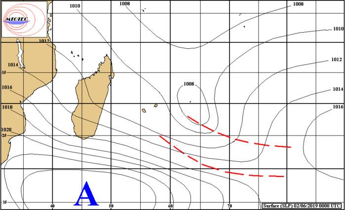 Analyse de la situation de surface à 4heures ce matin. L'anticylone(H) au sud sud-ouest des Mascareignes va apporter un changement de temps à partir de Lundi. L'instablité quant à elle s'éloigne graduellement de RODRIGUES. MTOTEC