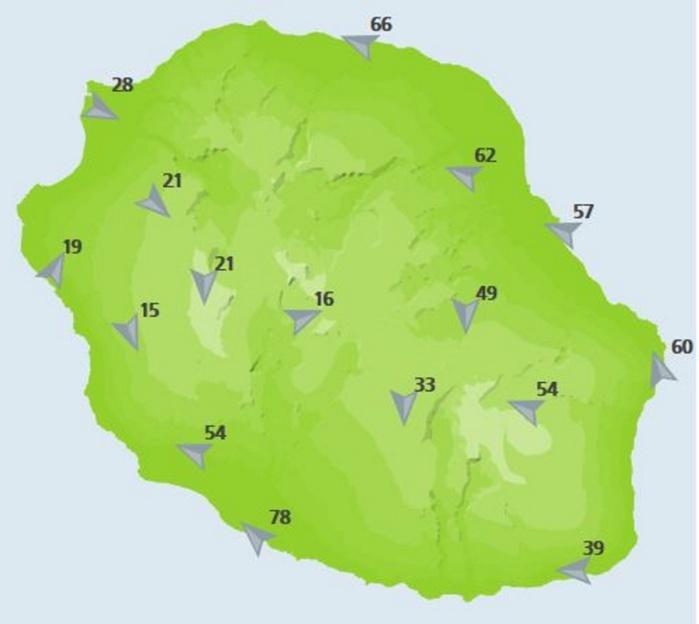Rafales enregistrées par les stations de Météo France à midi.