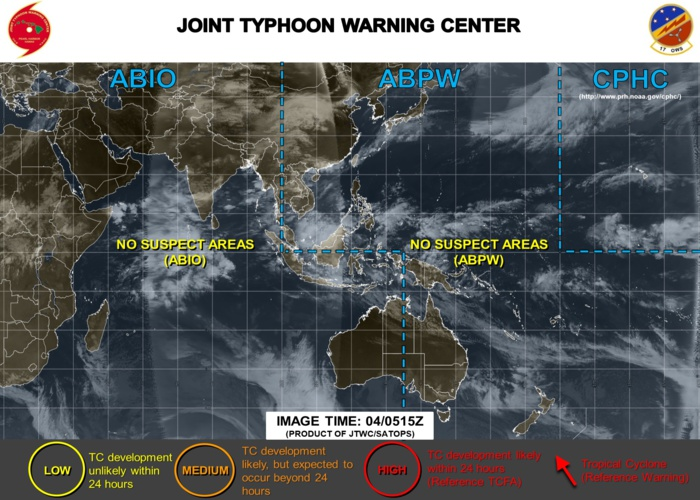NO SUSPECT AREAS ACROSS THE JTWC AREA OF RESPONSABILITY AT THE MOMENT
