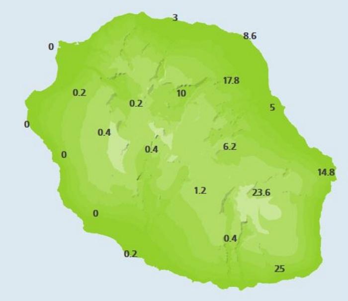 6heures ce matin. Cumuls de pluie des dernières 24heures. Stations de Météo France.