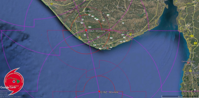 FORECAST LANDFALL AREA BETWEEN DIU AND PORBANDAR SHORTLY BEFORE 48HOURS AS A CATEGORY 2 US