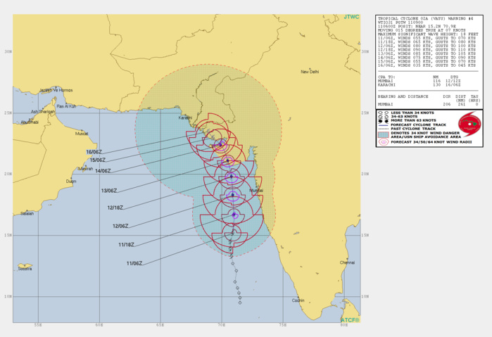Arabian Sea: cyclone VAYU(02A) is developing an eye and is intensifying rather rapidly