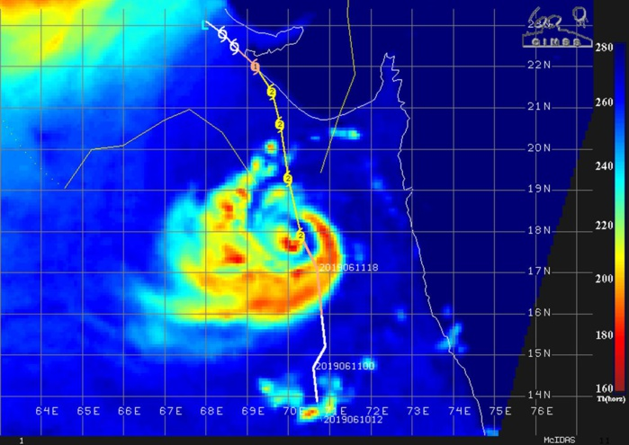 TC VAYU(02A) IS NOW A CATEGORY 2 CYCLONE WITH TOP GUSTS APPROACHING 200KM/H NEAR THE CENTER.