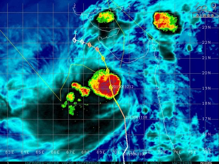 Cyclone VAYU(02A) category 2 US is gradually approaching Porbandar area
