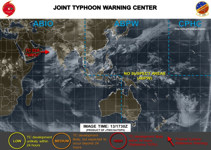 """Pas de cyclone sur notre zone en cette saison """"hivernale"""" mais un cyclone tropical nommé """"VAYU"""" évolue au sud-ouest du Gujarat. JTWC"""