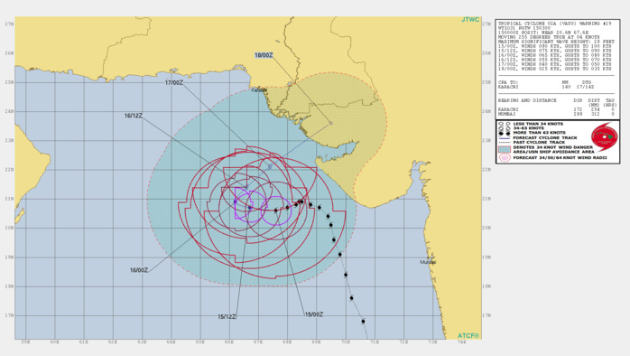 Cyclone VAYU(02A) category 1 US is forecast to weaken rapidly after 24hours due to vertical shear