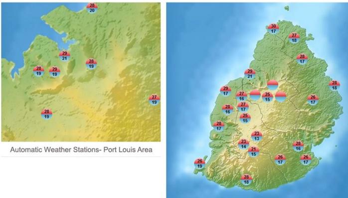 Minimales et maximales enregistrées par les stations de MMS/Vacoas.