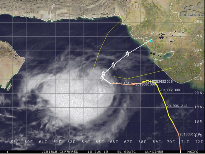 Cyclone VAYU(02A) is forecast to weaken rapidly from now on