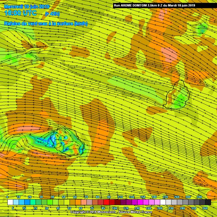 Simulation du modèle Arome en fin de journée de Mercredi. Renforcement des vents dans le voisinage immédiat des Iles Soeurs. METEO FRANCE