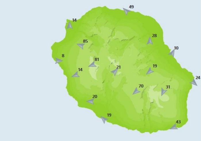 Rafales dans les stations de METEO FRANCE à 15heures.