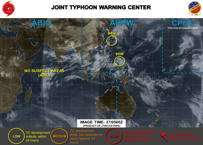 Western North Pacific: two Invest areas, none are expected to develop significantly at the moment