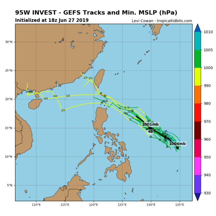 GUIDANCE SHOWS SOME DEVELOPMENT EAST OF THE PHILIPPINES BEFORE WEAKENING LATER ON.