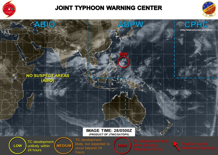 INVEST 95W is likely to develop into a tropical depression within 24/48hours. TCFA issued by the JTWC