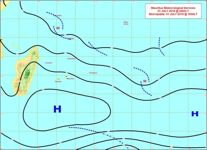 Analyse de la situation de surface ce matin. Peu d'évolution. L'alizé ralentit de manière significative Mercredi. MMS