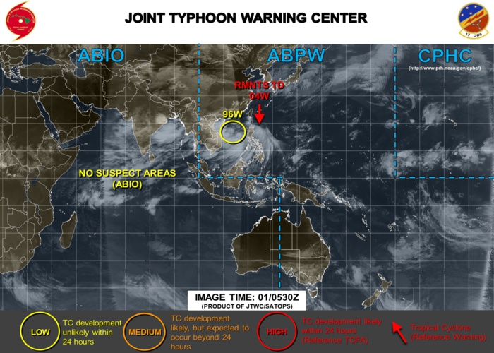 South China Sea: INVEST 96W expected to move westward and develop next few days