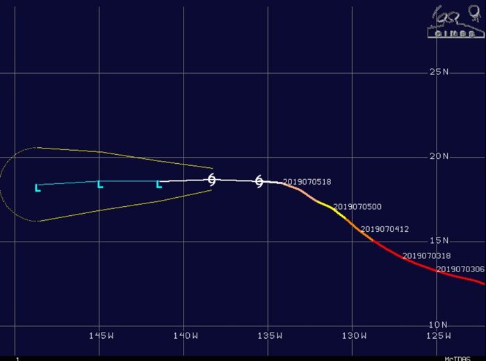 INTENSITY IS FORECAST TO FALL BELOW 35KNOTS AFTER 12HOURS