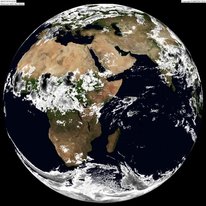Globe Météosat à 06heures. La zone des Mascareignes est dénuée de nuages actifs. ABANKS